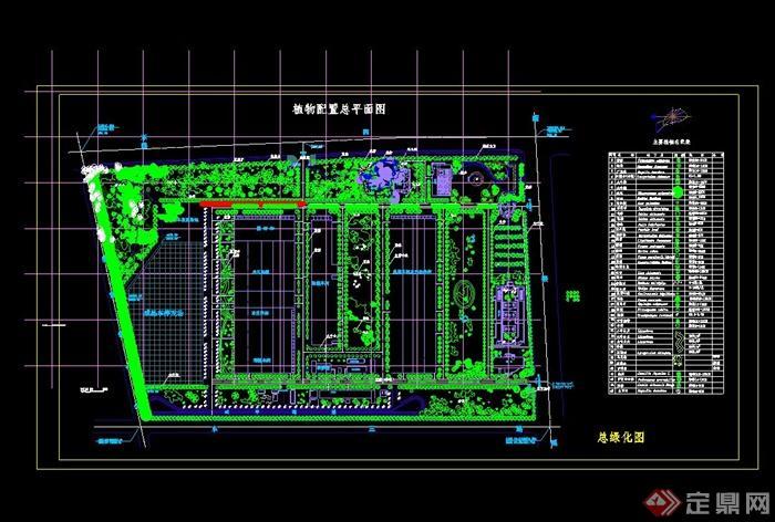 某汽车制造厂植物配置cad总平面图[原创]