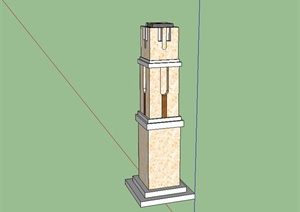 某现代风格景观柱子设计SU(草图大师)模型