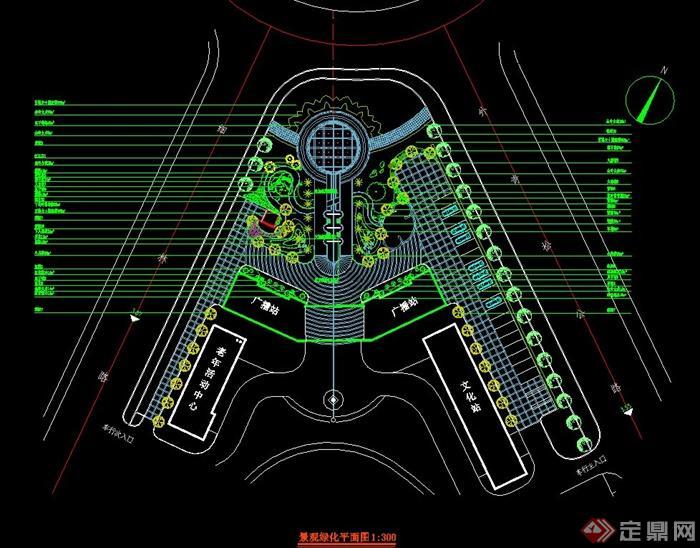 某政府广场绿化平面设计cad方案图[原创]
