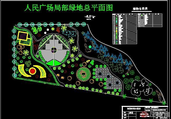 某人民广场局部绿地CAD总平面图