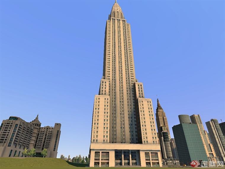 大楼尖顶装饰轮毂罩克莱斯勒大厦被认为装饰艺术建筑学的杰作。大厦特别的装饰后来用在克莱斯勒汽车上。1929年克莱斯勒敞篷车上用了61楼角落老鹰来做装饰。31楼墙角装饰,用在1929年克莱斯勒汽车的散热器上。大厦的构造为石头、钢架与电镀金属构成,其中Otis电梯公司设计了4组8台电梯与3,862扇窗户。1976年被公告为美国国定古迹(NationalHistoricLandmark)。冠装饰:克莱斯勒大楼最著名的就是大楼上的冠。由7个放射状的拱组成,VanAlen设计这个冠,由十字型弧棱拱顶与7个同心圆组成。