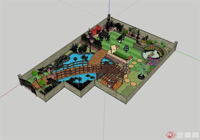 私家别墅的后花园设计su模型,模型包含了水池、廊架、汀步、桌凳、水钵设计,制作详细,具有很好的使用价值,欢迎下载。