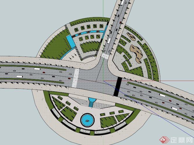某现代圆形广场景观设计su模型[原创]