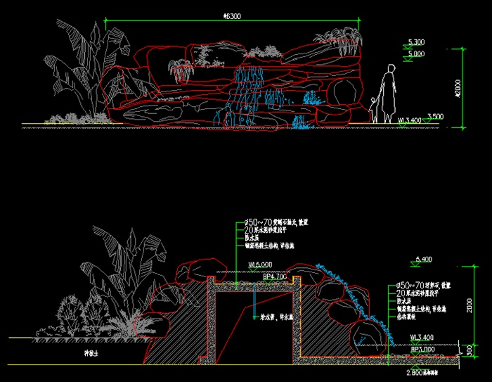 某假山瀑布详细设计cad施工图,图纸制作详细精致,是一个很不错的景观