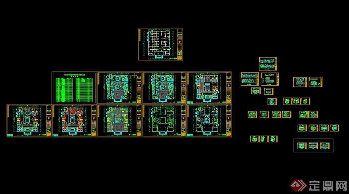 某公司豪华办公室空间设计cad施工图丶带效果图[原创]