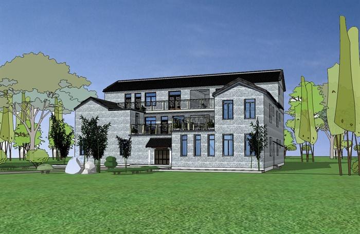 某農村住宅院落建筑設計su模型