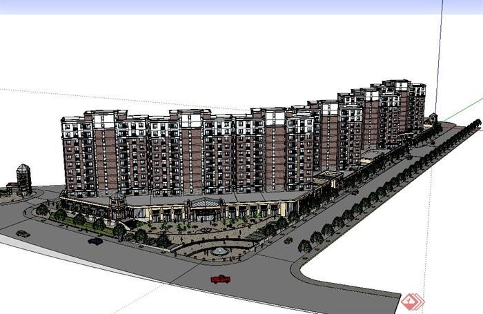 某欧式风格上商业住宅小区规划设计su模型[原创]