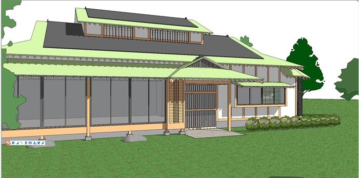 日式风格别墅单体建筑设计su模型[原创]