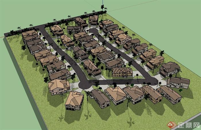 某别墅住宅小区规划设计su模型[原创]