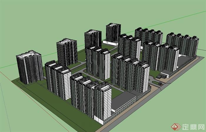 某现代住宅小区住宅建筑规划设计su模型[原创]