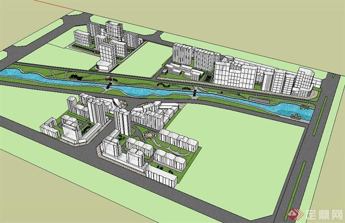 某现代简单的住宅小区规划设计su模型[原创]