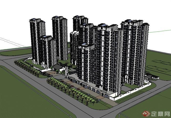 现代中式风格住宅小区建筑及景观规划设计su模型