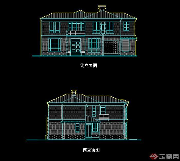 北美风格别墅建筑设计cad平立剖方案图[原创]