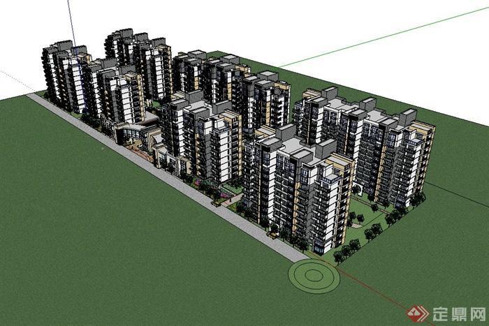 现代风格完整住宅小区景观及建筑规划设计su模型