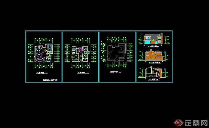 美式风格豪华别墅CAD施工图