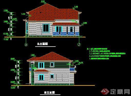 北美两层别墅建筑设计cad方案[原创]