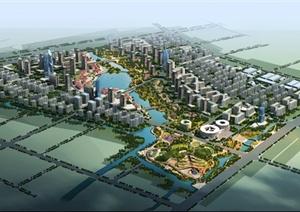 优秀城市规划鸟瞰效果图psd源文件
