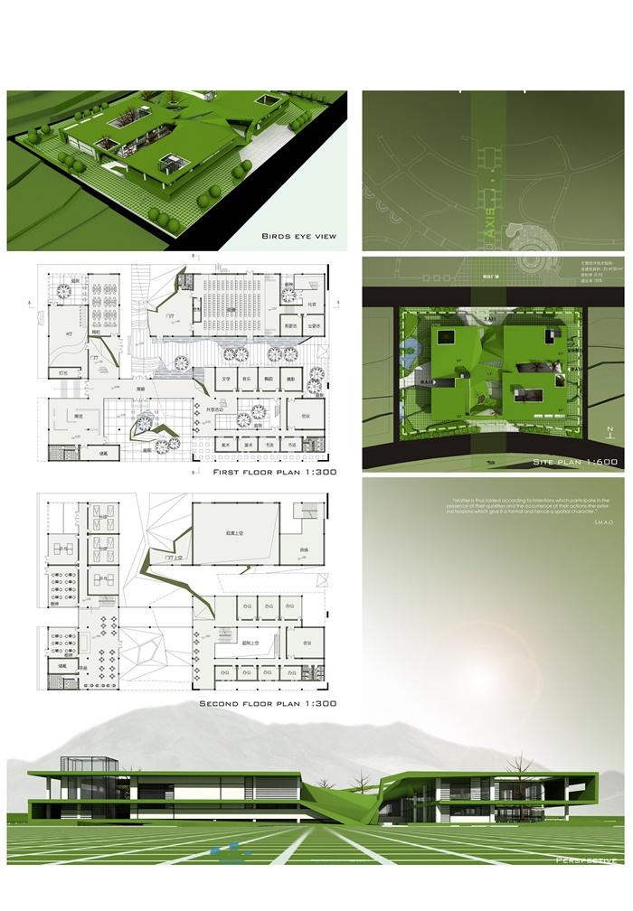 大学活动中心建筑设计展板[原创]