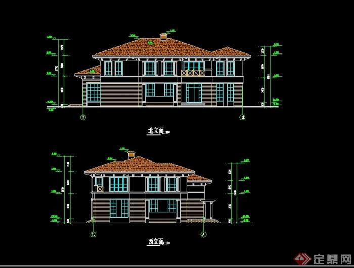 某北美风格别墅详细建筑设计cad平立剖[原创]