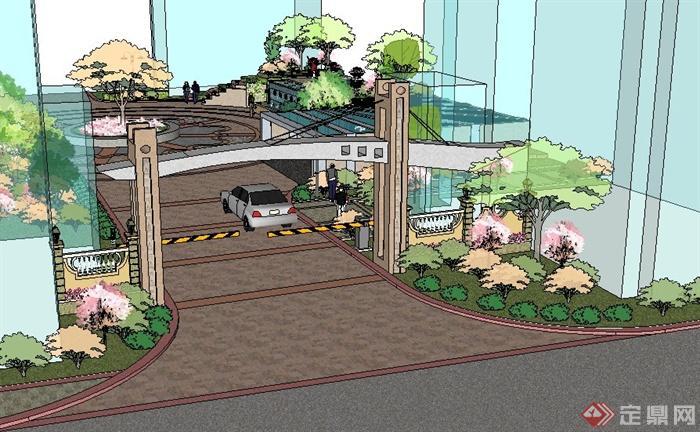 现代入口广场景观设计su模型(2)