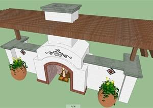 花架、廊架、楼梯SU(草图大师)模型