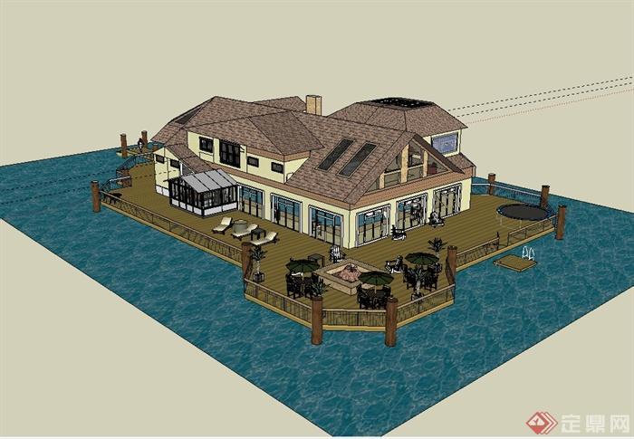 欧式风格水上会所建筑设计su模型(1)