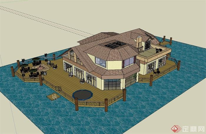 欧式风格水上会所建筑设计su模型(2)