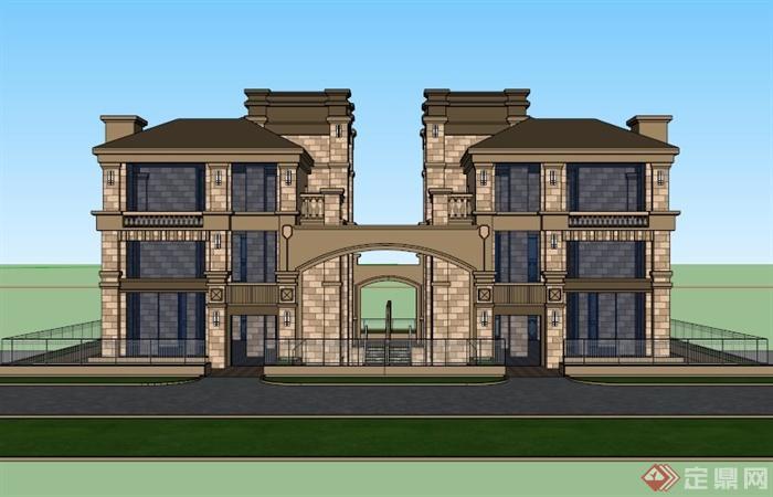 欧式双拼素材建筑设计SU图纸模型[原创]mhl别墅图片