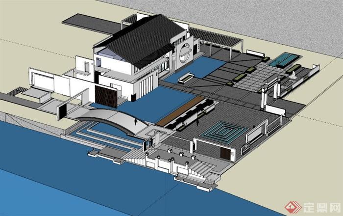 书院广场景观设计su模型(3)