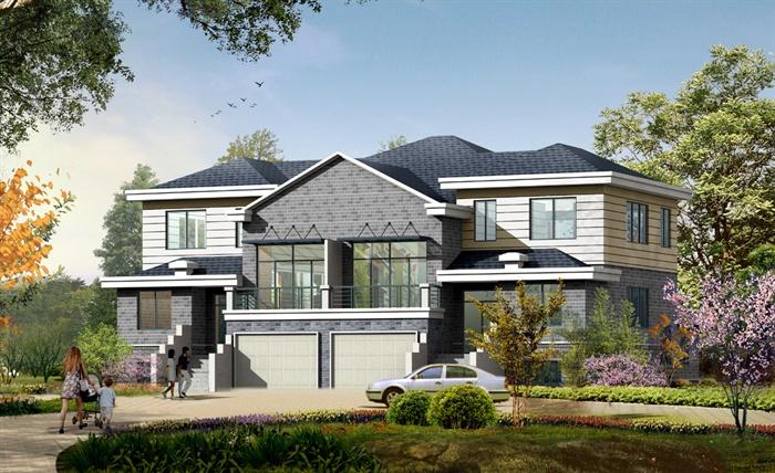 新中式双拼别墅建筑施工图 带效果图