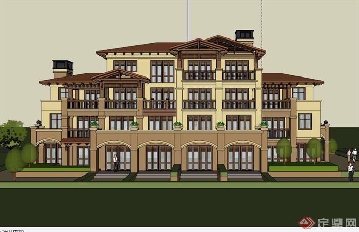 欧式多层公寓建筑设计su模型[原创]