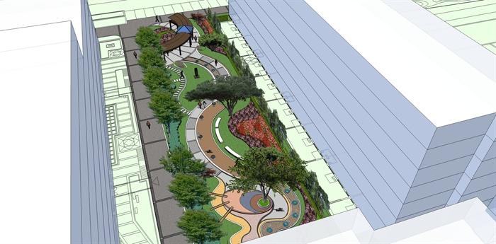 代风格办公环境中庭景观设计su模型图片