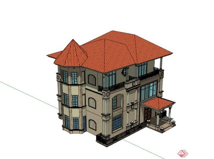 欧式精美三层别墅建筑设计su模型(1)