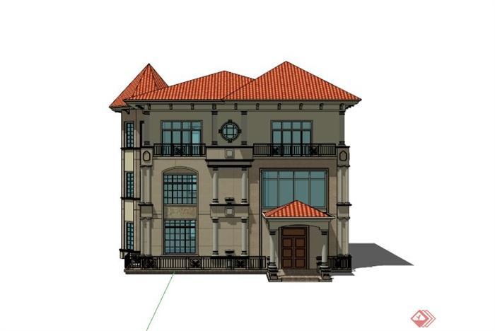 欧式精美三层别墅建筑设计su模型(3)