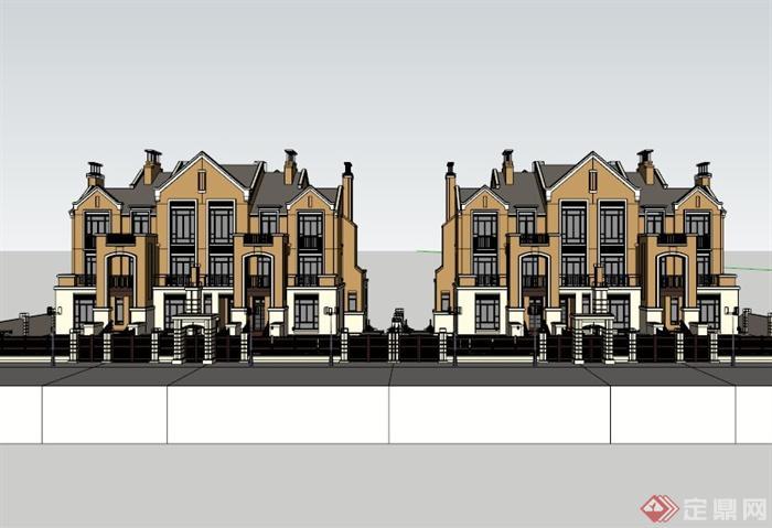 三层欧式别墅建筑设计su模型素材(3)
