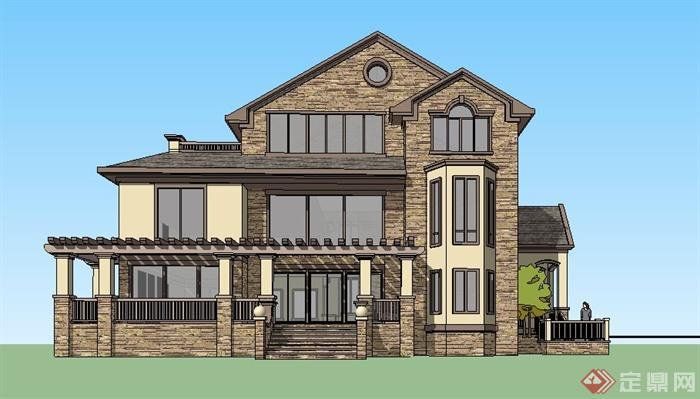 某美式风格独栋别墅建筑su模型(1)图片