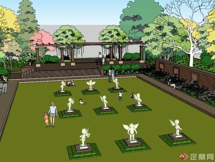半下沉广场景观设计su模型(3)