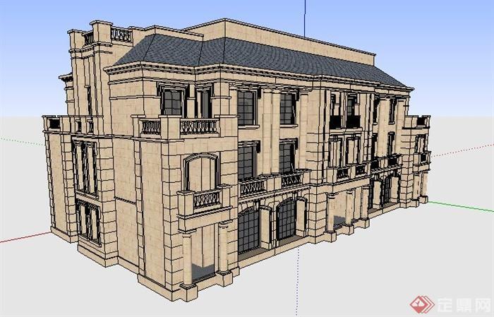 欧式拼接别墅住宅建筑su模型(2)