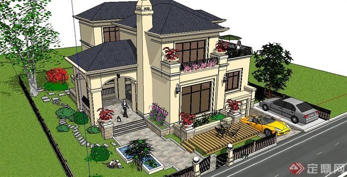 欧式双层别墅建筑及庭院景观su模型[原创]