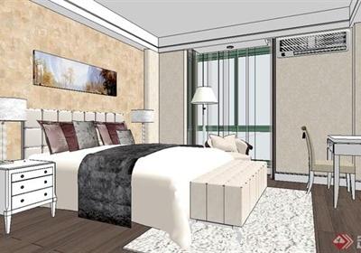 现代风格精致室内卧室设计SU模型