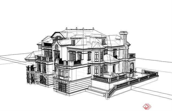 欧式风格无材质贴图双拼别墅设计su模型[原创]图片