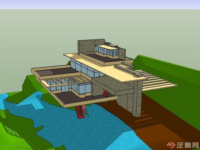 现代风格流水别墅建筑设计su模型[原创]