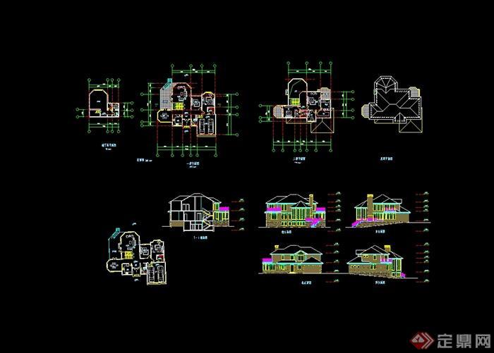 新农村住宅100套别墅设计cad图纸带效果图(4)
