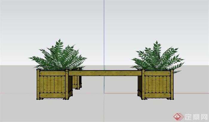 木制花箱长椅设计su模型(3)