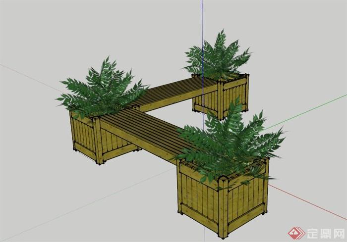 木制花箱长椅设计su模型(1)