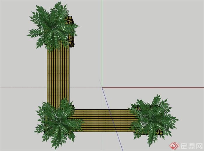 木制花箱长椅设计su模型(2)