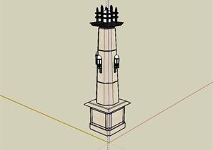 新古典风格景观灯柱设计SU(草图大师)模型