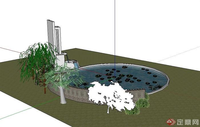 某现代风格景墙,水池组合设计su模型[原创]