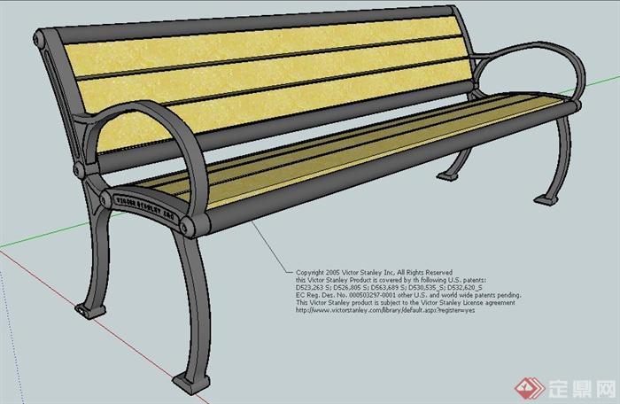 铁艺木质座椅设计su模型[原创]