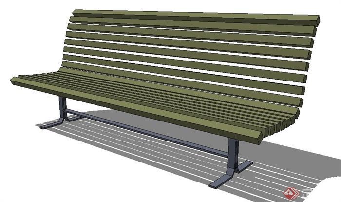 户外木条长椅设计su模型